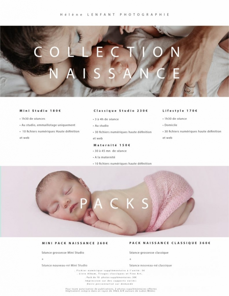 Tarifs de la collection naissance